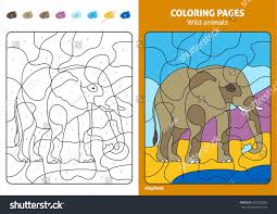 wild animals coloring page kids elephant stock vector 585922052