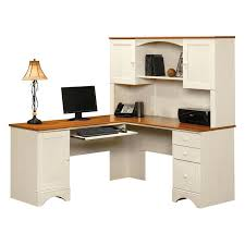 Corner White Desks Corner White Wooden Computer Desk With Hutch And Brown Top