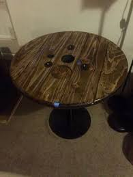 Cable Reel Table by Unique Cable Reel Table With Purple Glow In The Dark Epoxy Inlay