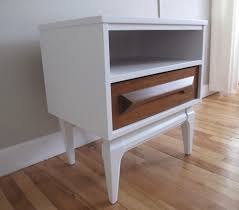 blue lamb furnishings white wood mcm nightstand sold
