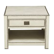 ivory accent table chester ivory faux leather wrapped trunk style end table color