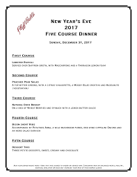5 course menu template cliff bell s new year s 5 course menu