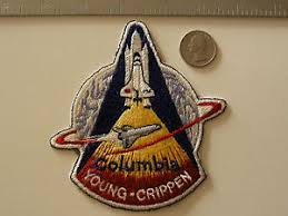 vintage sts 1 patch black threaded edge st nasa space