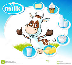 blue design with dairy products and funny cow vector stock