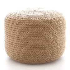 Beanbag Ottoman Braided Natural Indoor Outdoor Pouf Fresh American
