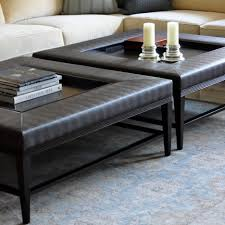 leather ottoman round living room padded coffee table with drawers small round
