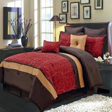 Red And Brown Bedroom Modern Red Brown Embroidered Comforter Set Luxury Linens 4 Less