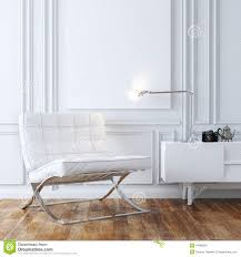 stylish white leather armchair in classic interior design stock