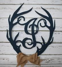 wood antler initial door wall hanging monogram deer antler