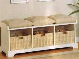 Bench With Baskets White Storage Bench With Baskets Hitez Comhitez Com