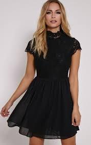 black skater dress ella black high neck lace skater dress dresses