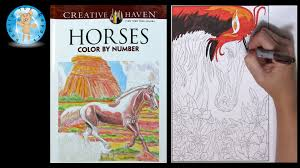 creative haven horses coloring book color by number family