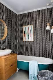 bathroom feature wall ideas bathroom feature wall with orla kiely wallpaper bathroom