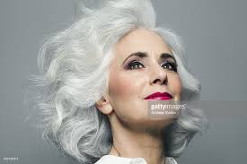 looking with grey hair woman with big grey hair looking up portrait stock photo getty