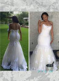 lace mermaid wedding dresses h1502 stunning white lace with ivory tulle mermaid wedding dress