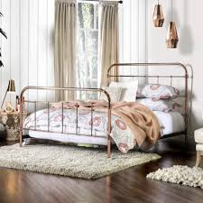 bedroom america melly rose gold metal bed minimalistic spindle