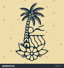 traditional flash palm island sea stock vector 424501114