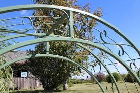 Metal Garden Arches And Trellises Wrought Iron Round Top Garden Trellis Double Arches 60