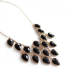 black gem necklace images Hanging teardrop black stone statement bib bauble necklace jpg