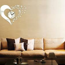 Modern Bedroom Wall Clocks Diy 3d Home Modern Decor Wall Stickers Living Room Love Mirror