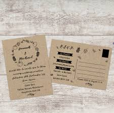 wedding invitations and rsvp fall wedding invitations with rsvp included postcard wedding