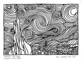 van gogh coloring pages pictures vincent van starry night