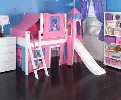 Rooms To Go Kids Loft Bed by Maxtrix Low Loft Bed White With Curtains Slide Tower U0026 Tent