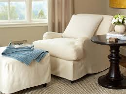 White Armchair With Ottoman Slipcovers For Chairs Ottomans And More Hgtv