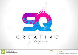 sq s q letter logo with shattered broken blue pink texture desig