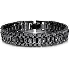 mens black link bracelet images Mens bracelet punk rock style black silver gold color big wide jpg