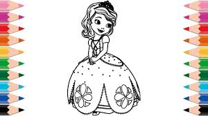draw sofia coloring pages kids learn colors