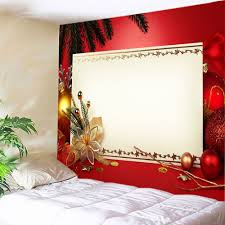 christmas decorations print tapestry wall hanging art in red w91