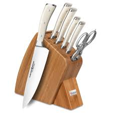 wusthof kitchen knives wusthof classic ikon creme slim knife block set 7 bamboo