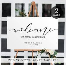 wedding welcome sign template printable wedding welcome sign editable template welcome sign