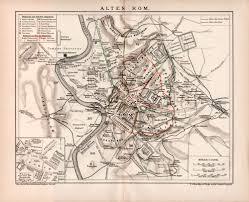 Ancient Map Ancient Rome Antique Map 1898 Historic Lithograph Roman Republic