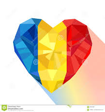 Flag Romania Crystal Gem Jewelry Heart With The Flag Of The Romania Stock