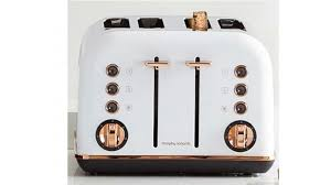 Morphy Richards Accent Toaster Morphy Richards Accents Rose Gold 4 Slices Toaster White