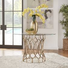 Champagne Dining Room Furniture Davlin Round Glass Top Champagne Base Dining Table By Inspire Q