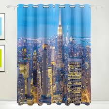 New York Room Divider New York City Skyscrapers Dusk Curtain Drapes Panels Darkening