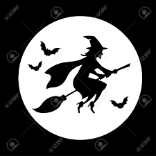 witch flying over the moon halloween symbol royalty free