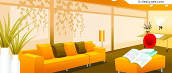 4 designer warm stylish indoor home vector material