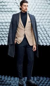 men u0027s charcoal overcoat tan blazer navy turtleneck navy dress