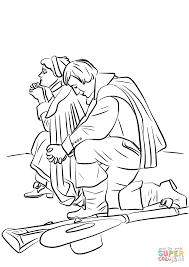 pilgrim couple kneeling in prayer coloring page free printable