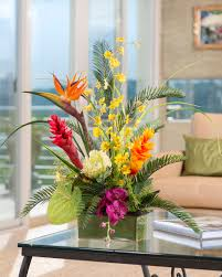 tropical flower arrangements impress with tropical orchids artificial flower