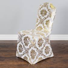 Damask Chair Gold Metallic Damask Stretch Banquet Chair Cover For Weddings And