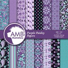 paisley digital papers shabby chic floral digital papers purple