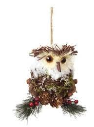 owl christmas 7 5 modern lodge pine cone and twig owl christmas ornament