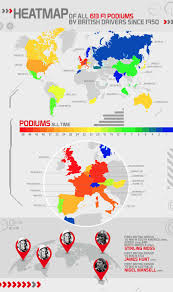 a map of all 613 f1 podiums by british drivers paddock magazine