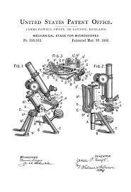 Mechanical Decor 1895 Microscope Patent Patent Print Wall Decor Microscope