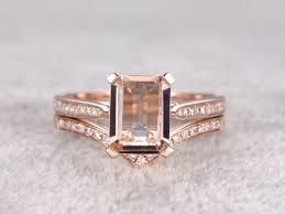 Rose Gold Wedding Ring Sets by 2pcs Bridal Ring Set Solitaire Morganite Engagement Ring Rose Gold